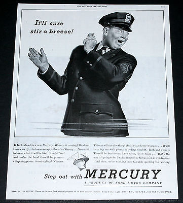 1945 Old Wwii Magazine Print Ad, Mercury, Coming After Victory, Traffic Cop Art!