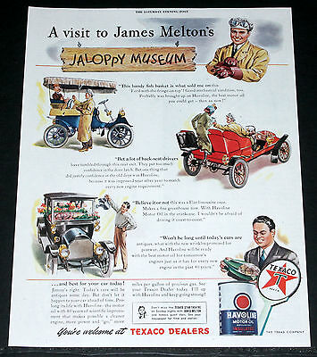 1945 Old Wwii Magazine Print Ad, Texaco Motor Oil, James Meltons Jaloppy Museum!