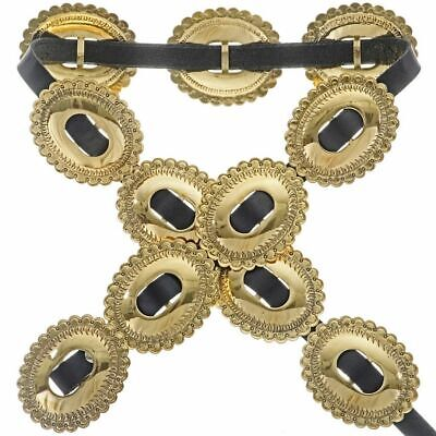 Native American Navajo HandStamped Jewelers Gold FIRST PHASE Concho Leather Belt