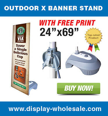 "Outdoor X Banner Stand + 24"" X 69"" Print"