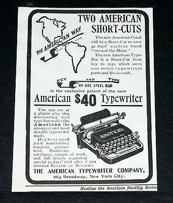 1901 Old Magazine Print Ad, American Typewriter Co & American Panama Canal, Art!
