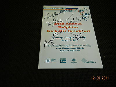 Miami Dolphins 1995 29Th Annual Kick-Off Bkst Program 7/14/1995 Autographed(5)