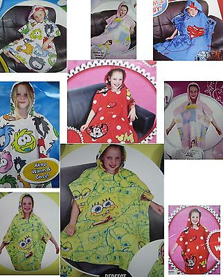 New Childrens Novelty / Tv Character Hooded Poncho Style Fleece Snuggle Blanket
