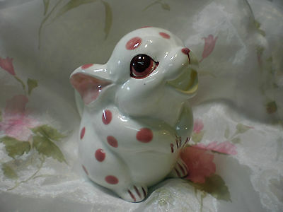 Japan Schmid Design Handpainted Polka Dot Pink Bunny Creamer Tea Kitchen Retro