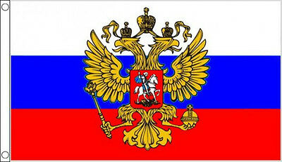 RUSSIA with CREST FLAG 5' x 3' Russian Eagle Standard USSR Europe