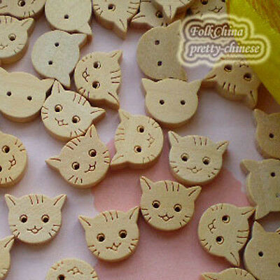 Cat 13mm Wood Buttons Sewing Scrapbooking Craft NCB021