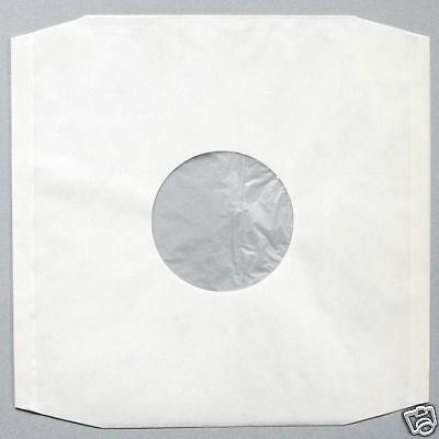 "50 12"" Polylined White Paper Record Sleeves + Free Del"
