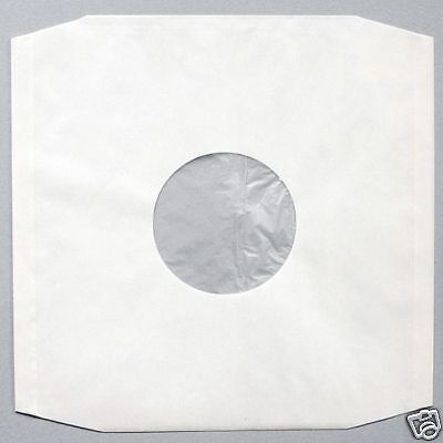 """100 12"""" Polylined White Paper Antistatic Record Sleeves + Free Del"""