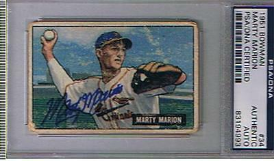 1951 Bowman # 34  Marty Marion  Autographed Card  , Psa/Dna