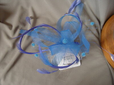 BLUE  MESH ,HAIL SPOT NETTING and FEATHER FASCINATOR