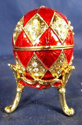 Egg Jeweled Red Pewter Trinket Box