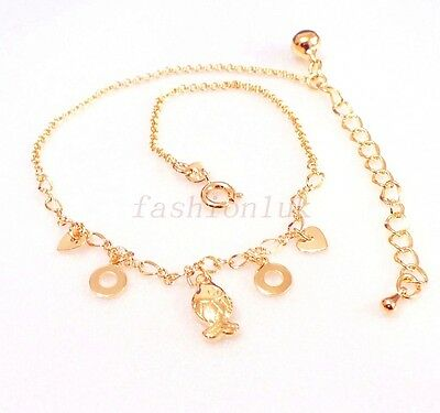 Real Yellow White Gold Gold Plated Stunning Anklet Bracelet 22-31cm valentines