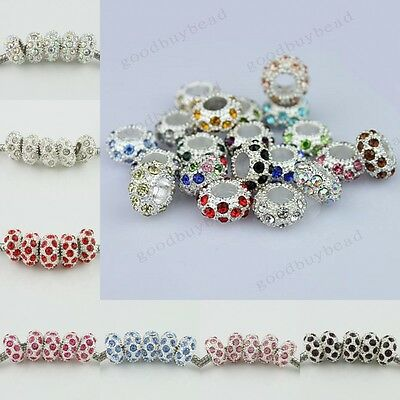 NEW Crystal Rhinestone Pave Rondelle Big Hole Charm Beads For Bracelet Wholesale