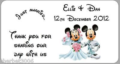 24 x Personalised Wedding Favour Labels Stickers Disney Mickey + Minnie Mouse