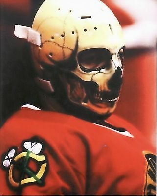 Warren Skorodenski Blackhawks Vintage Goalie Skull Mask Hockey 8X10 Photo