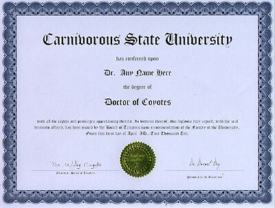 Doctor Coyotes Novelty Diploma Gag Gift Call Howl