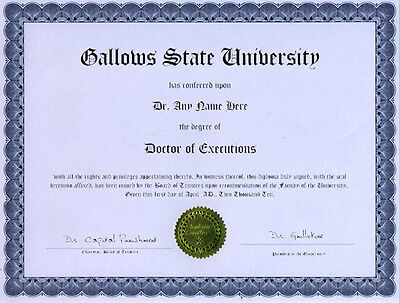 Doctor Executions Novelty Diploma Death Skull Gallows