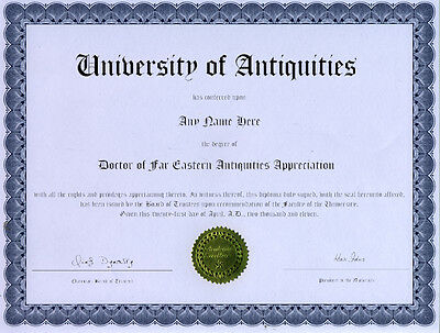 Doctor Far Eastern Antiquities Novelty Diploma Qing Han