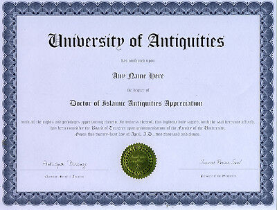 Doctor Islamic Antiquities Appreciation Novelty Diploma