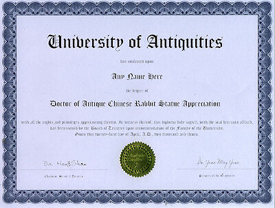 Doctor Chinese Rabbit Statue Appreciation Diploma