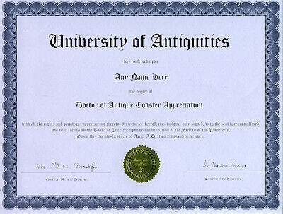 Doctor Antique Toaster Appreciation Novelty Diploma