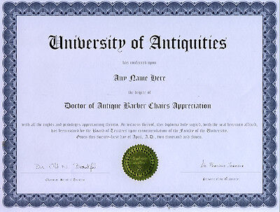 Doctor Antique Barber Chair Appreciation Diploma