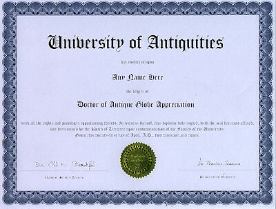 Doctor Antique Globe Appreciation Novelty Diploma