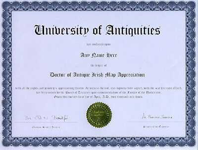 Doctor Antique Irish Map Appreciation Novelty Diploma