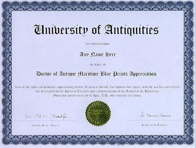 Doctor Antique Maritime Blueprints Novelty Diploma