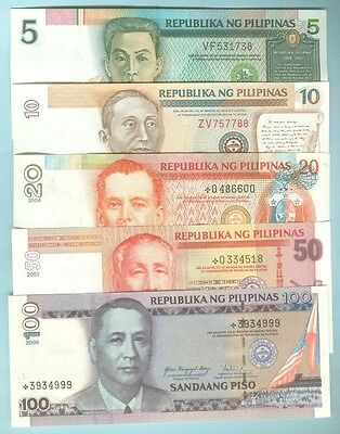 Philippines 1986-2010 Fourth Series Set 5-10-20-50 & 100-Peso Notes, All Cu