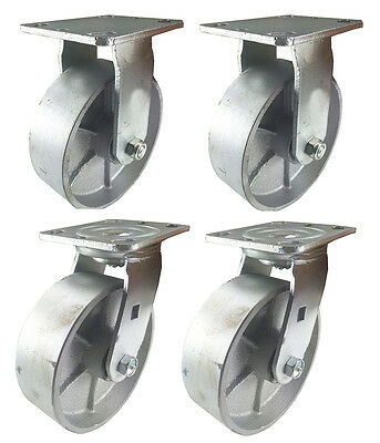 "6"" x 2""  Steel Wheel Caster - 2 Swivels & 2 Rigids"