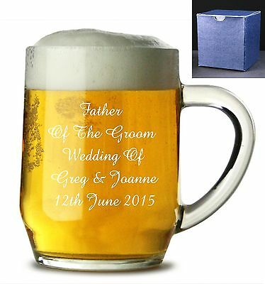 Personalised Pint Beer Lager Glass Tankard Engraved Retirement Gift Wedding