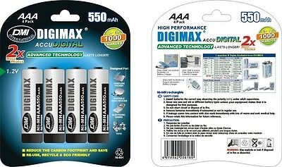 4 x AAA 550 mAh TELEPHONE BATTERIES RECHARGEABLE by DIGIMAX - ACCU DIGITAL LR03