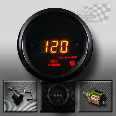 Oil pressure gauge universal interior dash panel fit orange led 52mm