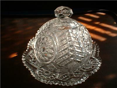 c1907 EAPG Riverside Glass Oneata Covered Butter Chimo