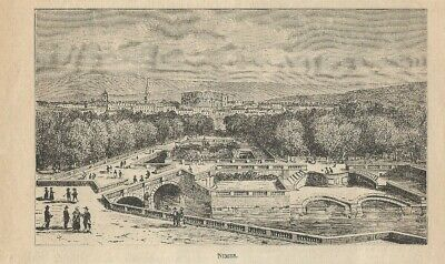 Stampa antica NIMES Gard Languedoc-Roussillon 1905 Ancien Gravure Old Print