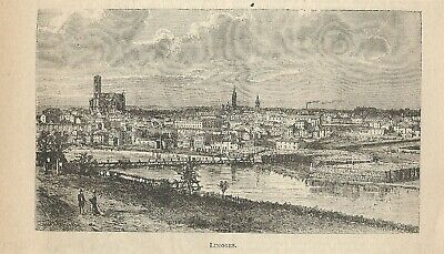 Stampa antica Veduta LIMOGES Haute-Vienne Limousin 1898 Ancien Gravure Old Print