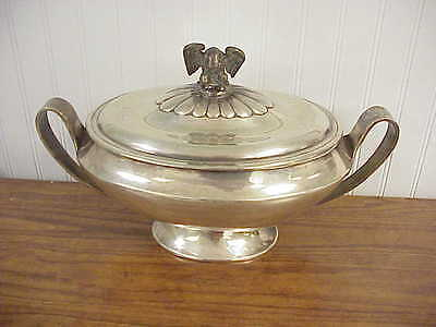 Eagle Top Two Handle Spanish Sterling Silver Oval Covered Seving Bowl / Tureen