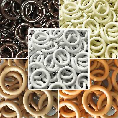10 PACK Wooden Wood Curtain Rings - 5 colours, 3 sizes