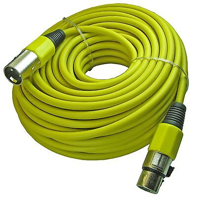YELLOW 100 ft foot shielded 3pin XLR male to female mic cable microphone cord