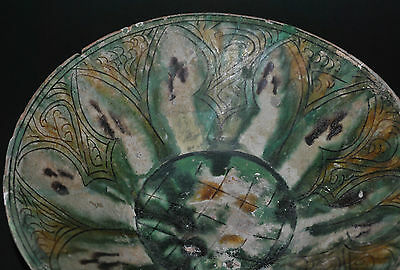Antique Persian Iran Nishapur Incised Pottery Ceramic Bowl Islamic