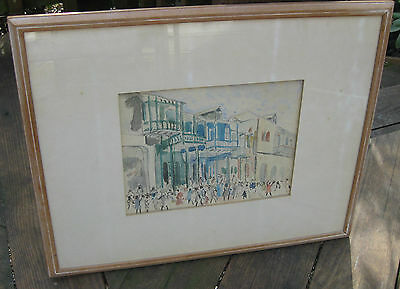 SQUIRE KNOWLES Watercolor Painting Haiti Haitian Street Scene framed