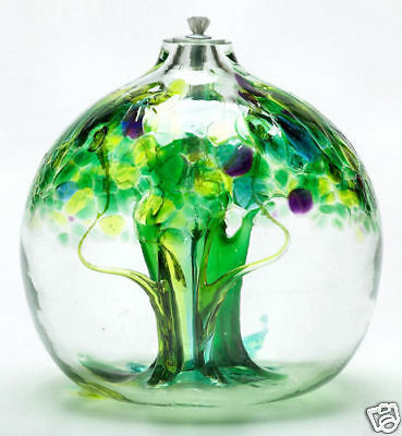 """Kitras -TREE OF ENCHANTMENT- SPRING - Hand Blown Art Glass Oil Lamp 4"""" NEW"""