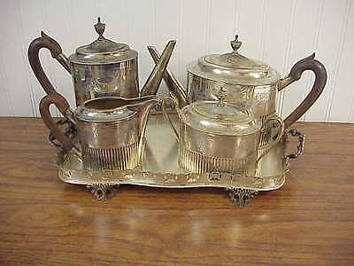 Old Portugese Sterling Silver 5 piece Tea Set w tray