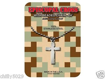 GI JEWELRY,  U.S. Military, EPISCOPAL CROSS Necklace Pendant With Beaded Chain