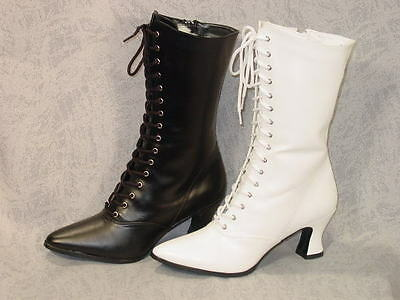 Victorian Old West vintage style Granny Grannie boots 6-12 WHITE ONLY