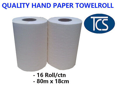 Tcs New Bulk Purchase Hand Paper Towel Rolls, 80M Long, 16 Rolls Per Carton