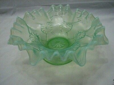 Antique Green Opalescent Floral Decorative Ruffled Edge Footed Candy Dish