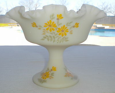 Vtg. Fenton Burmese Art Glass Yellow Satin Artist Signed Custard Ruffled Compote