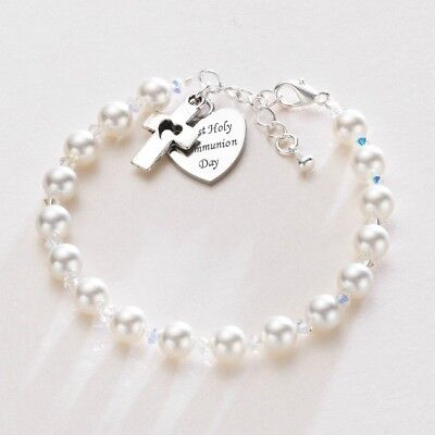 First Holy Communion Bracelet Pearls & Engraved Heart Charm, Christening Gift